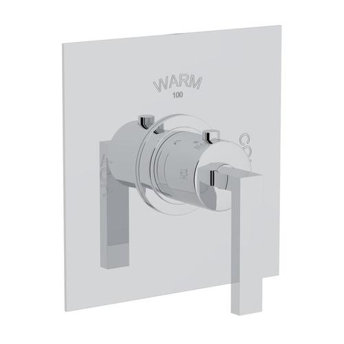 Polished Chrome Wave Thermostatic Trim Plate Without Volume Control with Wave Metal Lever