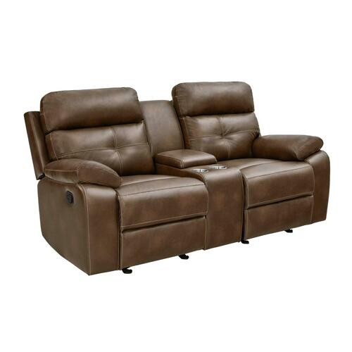Damiano Brown Faux Leather Reclining Loveseat
