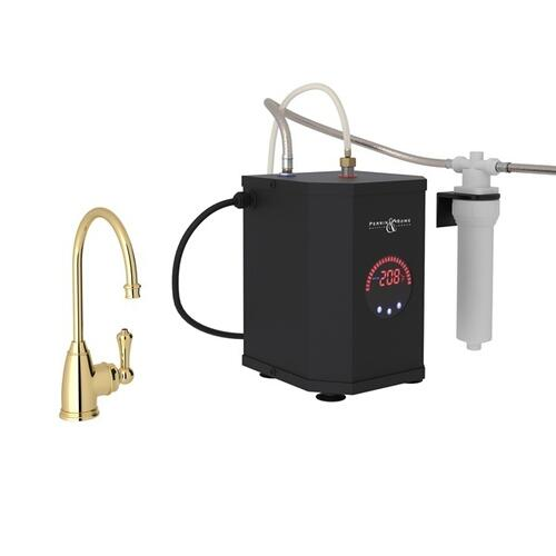 Unlacquered Brass Perrin & Rowe Georgian Era C-Spout Hot Water Faucet, Tank And Filter Kit with Traditional Metal Lever