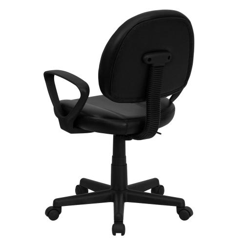 Alamont Furniture - Mid-Back Black Leather Ergonomic Swivel Task Chair with Arms