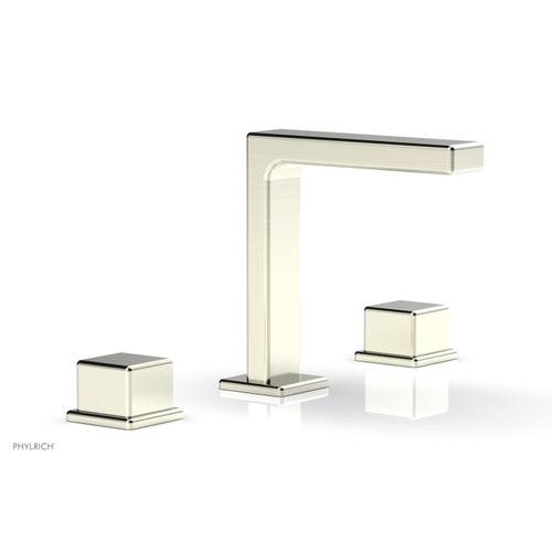 """MIX Widespread Faucet - Cube Handles 6-3/4"""" Height 290-04 - Satin Nickel"""