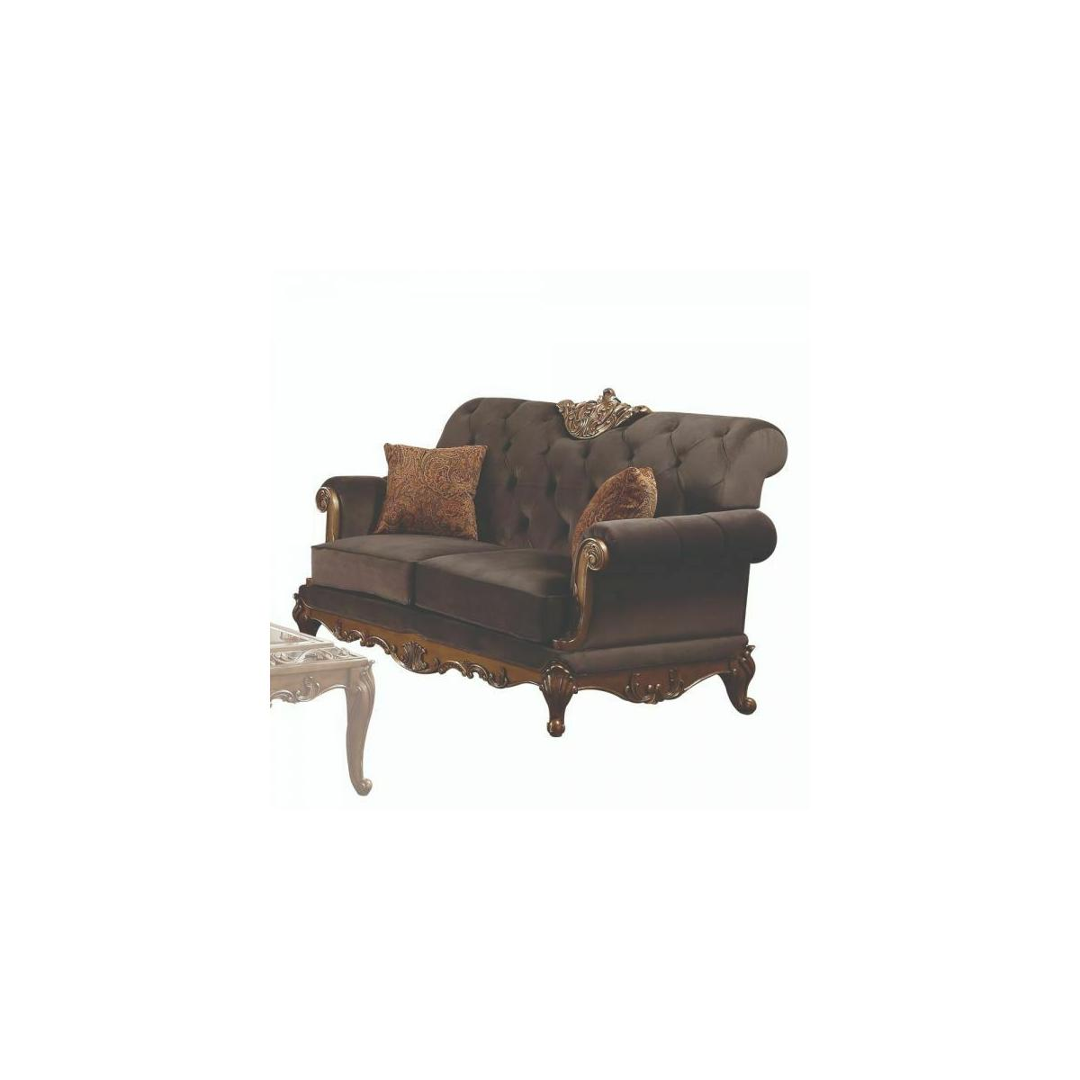 ACME Orianne Loveseat w/2 Pillows - 53796 - Charcoal Fabric & Antique Gold