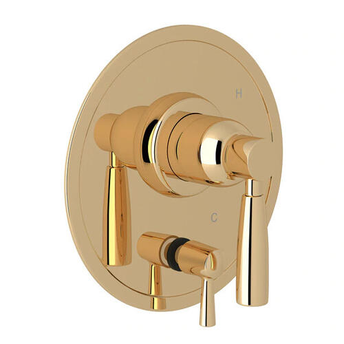 Holborn Pressure Balance Trim with Diverter - English Gold with Metal Lever Handle