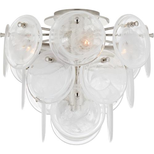 AERIN Loire 4 Light 15 inch Polished Nickel Tiered Flush Mount Ceiling Light, Medium