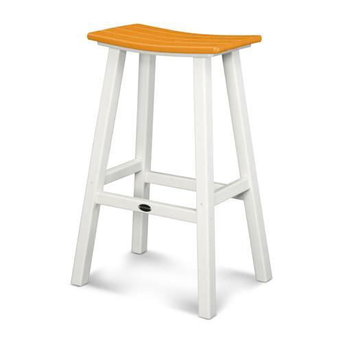 "White & Tangerine Contempo 30"" Saddle Bar Stool"