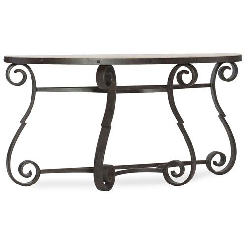 Living Room Luckenbach Metal and Stone Demilune Console