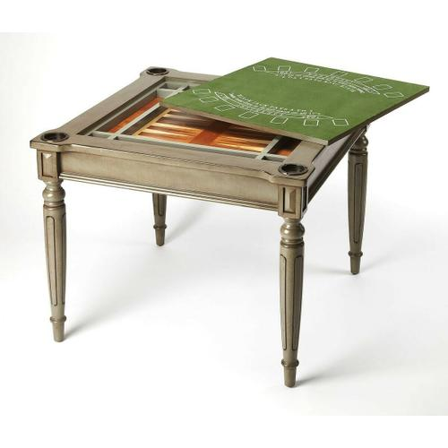 Play a variety of games on this stylish table that is veneered in a Silver Satin finish. The top inset has a game board with maple and walnut veneers for chess and checkers. Flip the inset over and it converts to a green felt-lined blackjack table. Remove
