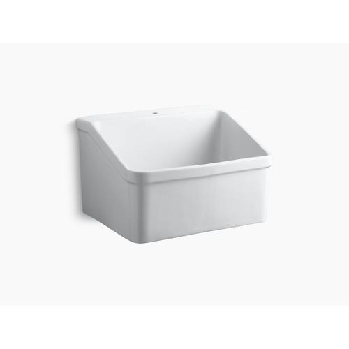 "White 28"" X 22"" Bracket-mounted Utility Sink With Single Faucet Hole"