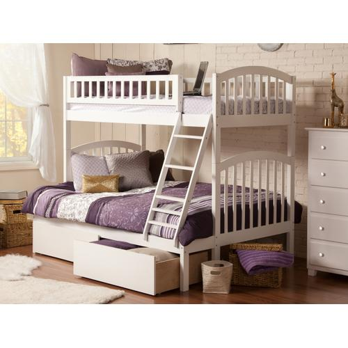 Richland Bunk Bed Twin over Full with Urban Bed Drawers in White