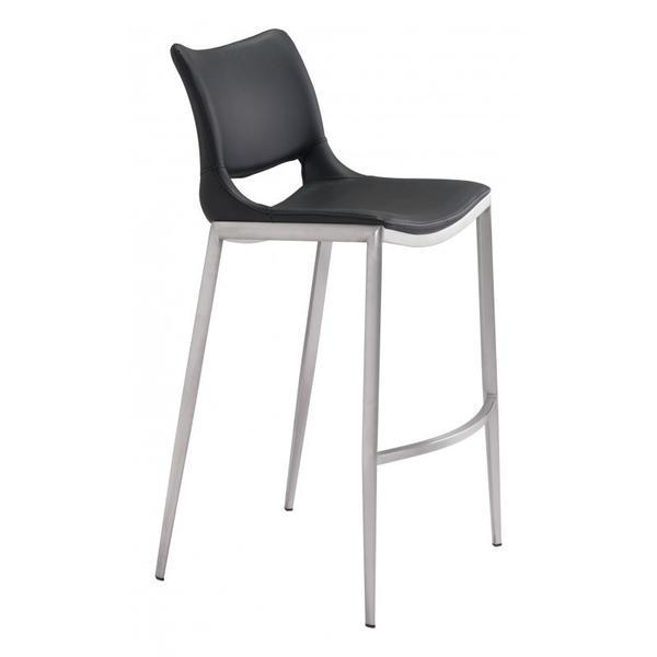 Ace Bar Chair Black & Silver