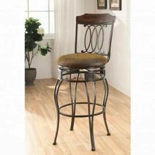 "ACME Tavio Bar Chair w/Swivel (Set-2) - 96049 - Fabric & Black w/Gold Brush - 29"" Seat Height"