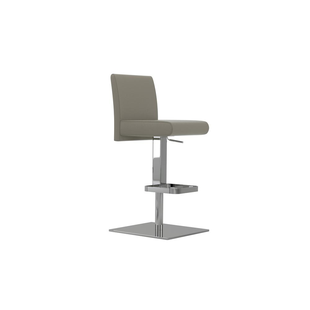 The Vittoria Adjustable Bar Stool In Taupe Leather With Chrome Plated Base