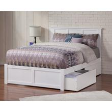 Madison Full Flat Panel Foot Board with 2 Urban Bed Drawers White
