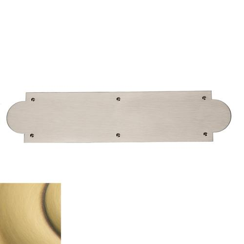 Satin Brass and Brown Arched Push Plate