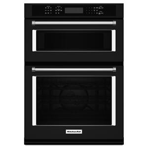 """KitchenAid27"""" Combination Wall Oven with Even-Heat™ True Convection (lower oven) Black"""