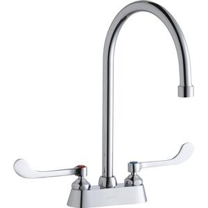 "Elkay 4"" Centerset with Exposed Deck Faucet with 8"" Gooseneck Spout 6"" Wristblade Handles Chrome Product Image"