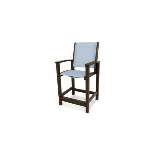 Polywood Furnishings - Coastal Counter Chair in Mahogany / Poolside Sling