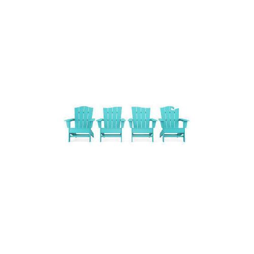 Polywood Furnishings - Wave Collection 4-Piece Adirondack Chair Set in Aruba