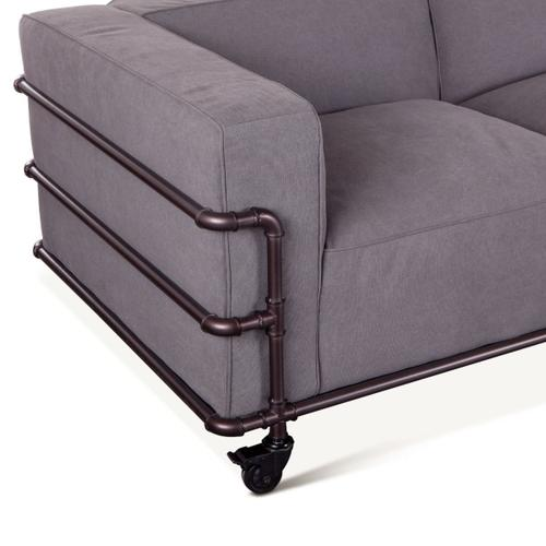 Quentin Industrial Sofa in Gray Canvas