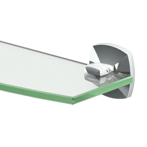 Jewel Glass Shelf in Satin Nickel
