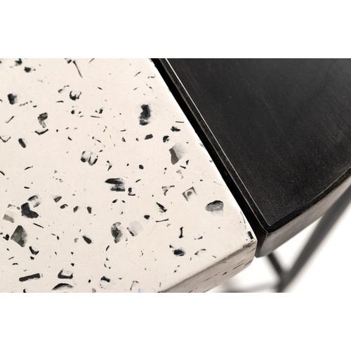 VIG Furniture - Modrest Gemini Modern White Terrazzo Concrete & Black Metal Console Table