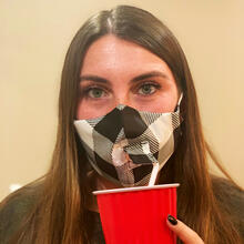 Happy Hour Reusable Face Mask in Buffalo Check Black and White