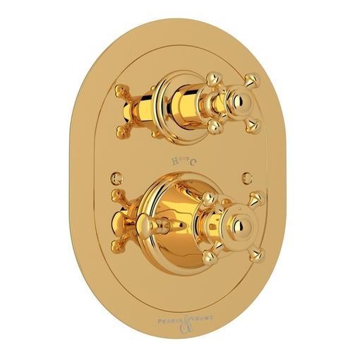 English Gold Perrin & Rowe Georgian Era Oval Thermostatic Trim Plate With Volume Control with Georgian Era Cross Handle