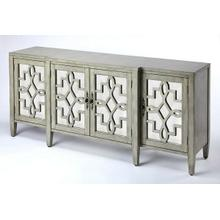See Details - Perfect addition to just about every dining room or living area; a storage friendly sideboard. This traditionally styled sideboard boasts of majestic influences with a contemporary appeal. The overall dimensional design is embraced with the soft curves of the door panel fretwork. The additional light reflection that will bring a soft reflected light into your room is brought by the antique mirror panels on the panel doors. Crafted in Birch wood solids and veneers with an updated finish color lend a classic design with a nuance of contemporary color. This is the perfect addition for your room space and all of your entertaining and living storage needs.
