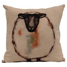 """See Details - 18"""" Square Woven Cotton Pillow w/ Sheep & Embroidery"""