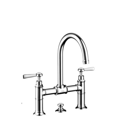 Brushed Red Gold 2-handle basin mixer 220 with lever handles and pop-up waste set