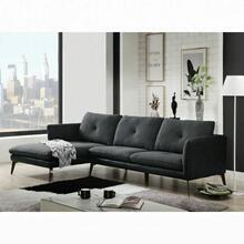 ACME Harun Sectional Sofa - 51480 - Contemporary - Fabric+PU, Frame: Wood (Ply), Foam (D); Powered/Metal Reclining Mechanism - Gray Fabric and PU