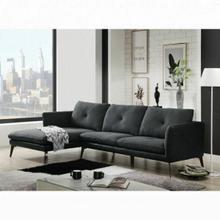 ACME Harun Sectional Sofa - 51480 - Contemporary - Fabric+PU, Frame: Wood (Ply), Foam (D); Powered/Metal Reclining Mechanism - Gray Fabric and PU