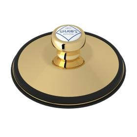 Unlacquered Brass Shaws Disposal Stopper With Shaws Logo Branded White Porcelain Pull Knob