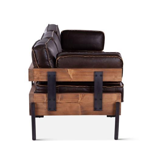 Portofino Leather 3-Seater Black Sofa