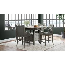 Manchester High/low Square Dining Table With Six Stools - Grey