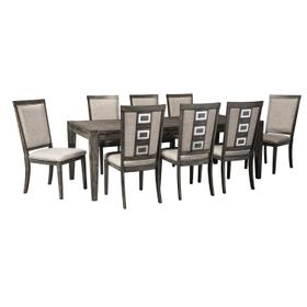 See Details - Chadoni - Gray 9 Piece Dining Room Set