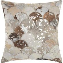"""See Details - Natural Leather Hide S1203 Silver Grey 20"""" X 20"""" Throw Pillow"""