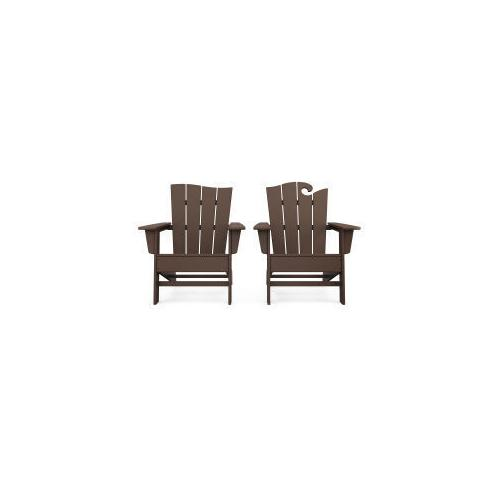 Polywood Furnishings - Wave 2-Piece Adirondack Set with The Wave Chair Left in Mahogany