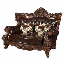 ACME Forsythia Loveseat w/2 Pillows - 53071 - Espresso Top Grain Leather Match & Walnut