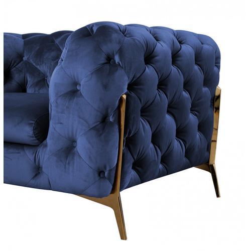 VIG Furniture - Divani Casa Quincey - Transitional Blue Velvet Loveseat