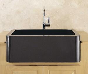 "Polished & Honed Front Farmhouse Sinks 33"" Width / Black Granite Product Image"