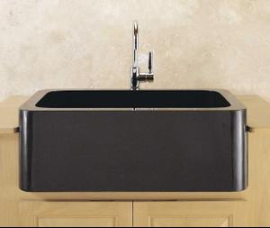 """Polished & Honed Front Farmhouse Sinks 33"""" Width / Black Granite Product Image"""