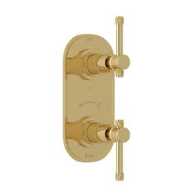 Campo 1/2 Inch Thermostatic and Diverter Control Trim - Unlacquered Brass with Industrial Metal Lever Handle