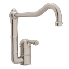 Acqui Single Hole Column Spout Kitchen Faucet with Extended Spout - Satin Nickel with Metal Lever Handle