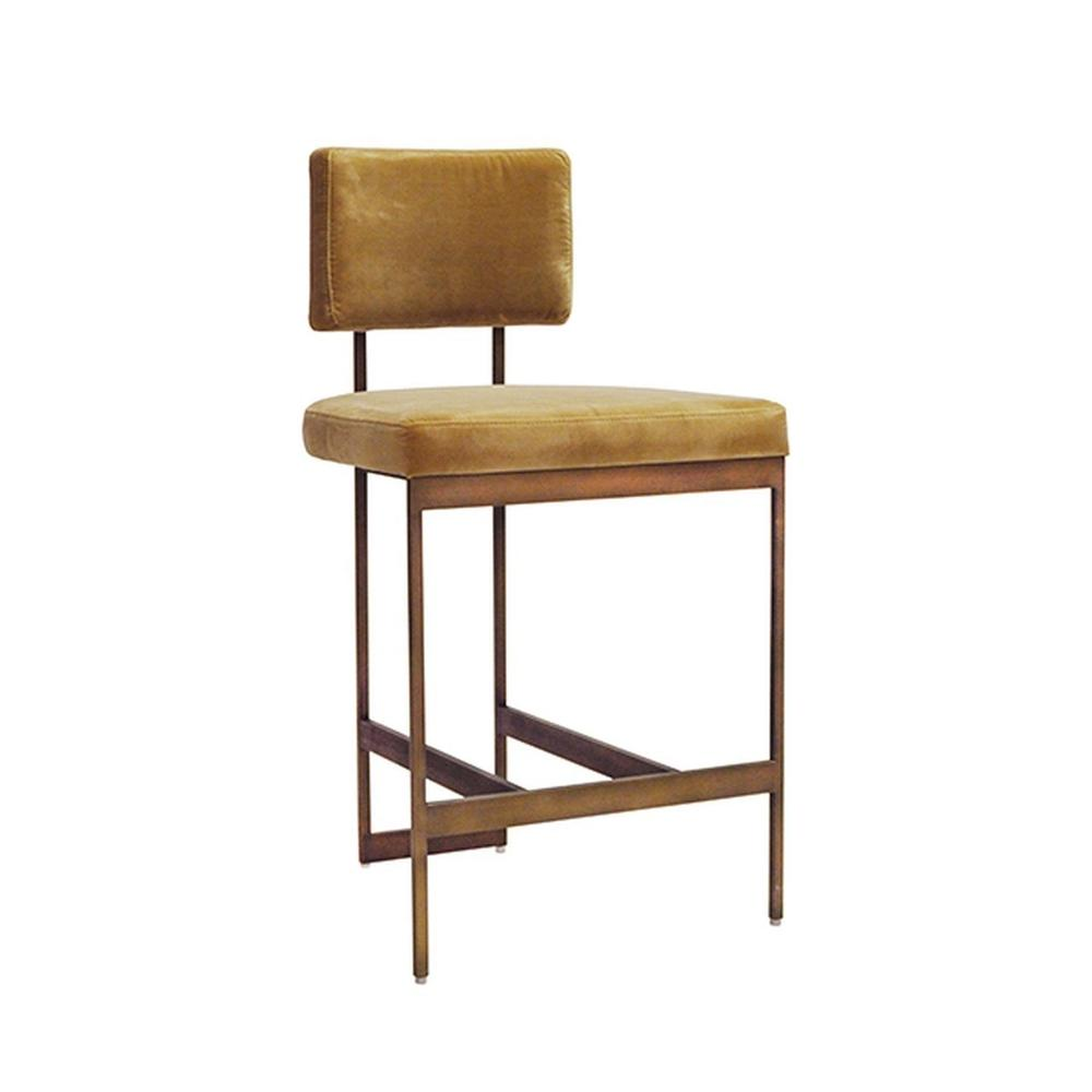 The Clean Lines and Simple Geometry of Our Baylor Counter Height Stool Are Inspired By Early European Modernists. A Luxurious Camel Velvet Cushion Pairs In Elegant Contrast To the Painted Bronze Base. sturdy Back Handle Incorporated Into the Metal Frame for Easy Portability.