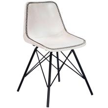 Mid-century modern with a contemporary twist: this go-everywhere molded chair form gets an upgrade with a stitched leather cover and sturdy black iron frame. Think home office, dining room or dorm!