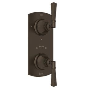 Palladian 1/2 Inch Thermostatic and Diverter Control Trim - Tuscan Brass with Metal Lever Handle