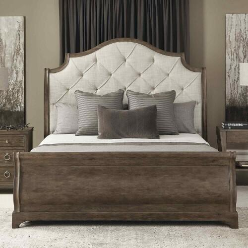 Bernhardt - King-Sized Rustic Patina Upholstered Sleigh Bed in Peppercorn (387)