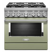 See Details - KitchenAid® 36'' Smart Commercial-Style Dual Fuel Range with 6 Burners - Matte Avocado Cream