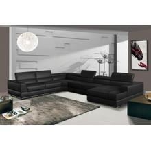 See Details - Divani Casa Pella - Modern Black Italian Bonded Leather U Shaped Sectional Sofa